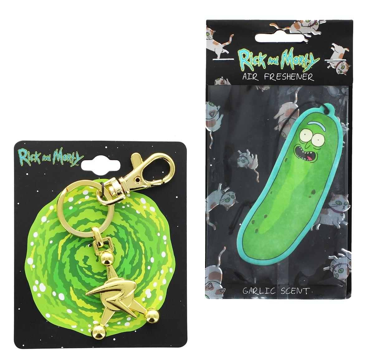 Rick and Morty Council of Ricks 3D Key Chain & Pickle Rick Air Freshener Bundle