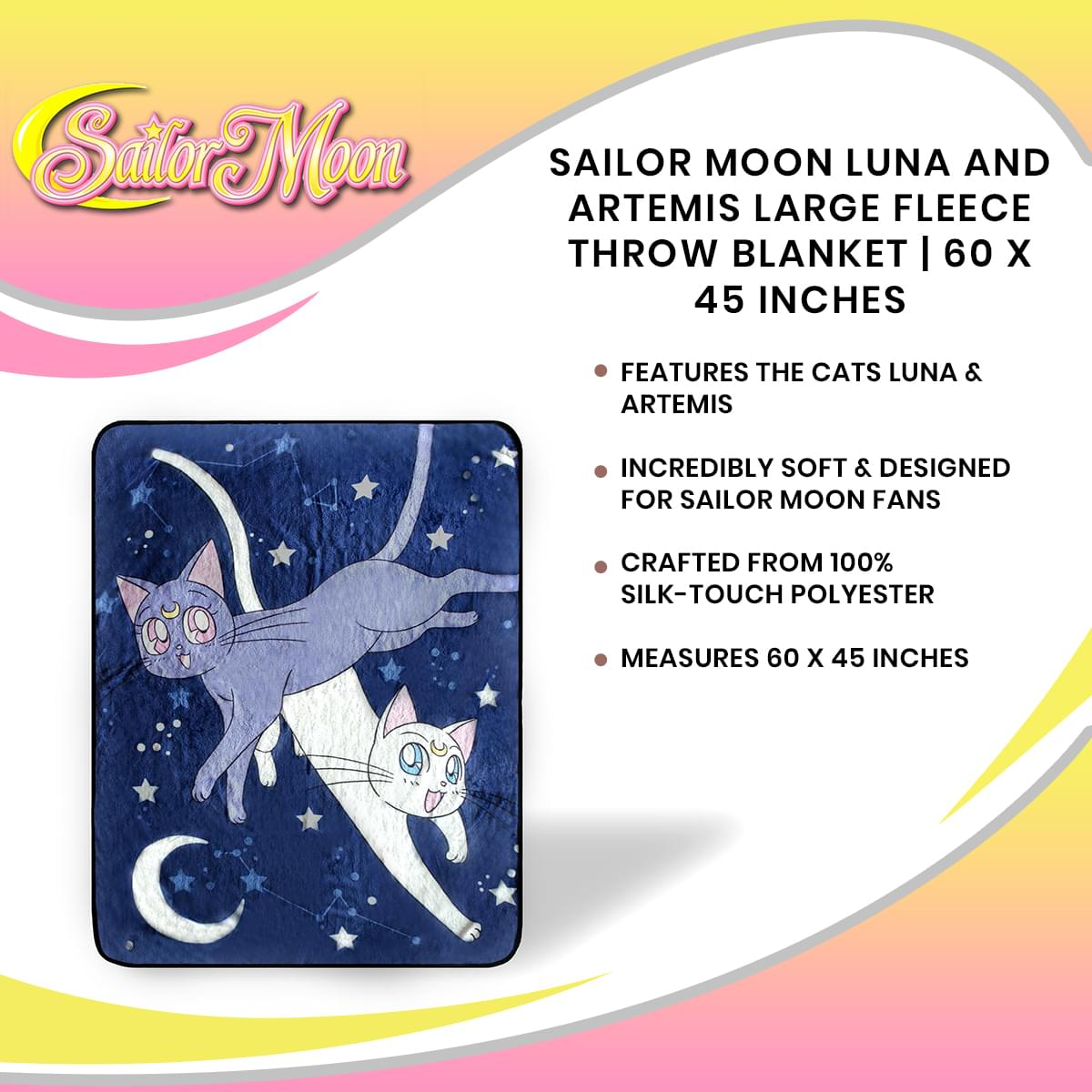Sailor Moon Luna And Artemis Large Fleece Throw Blanket | 60 x 45 Inches