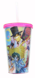 Sailor Moon Cast Holographic Foil 16oz Carnival Cup w/ Straw & Lid