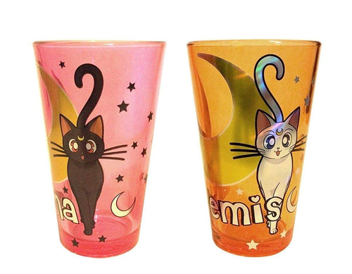 Sailor Moon Artemis & Luna 16oz Pint Glass Set of 2