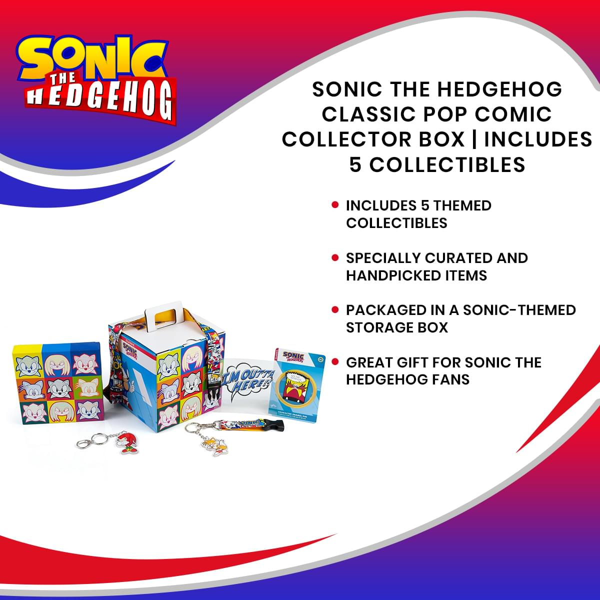 Sonic the Hedgehog Classic Pop Comic Collector Looksee Box | Includes 5 Collectibles