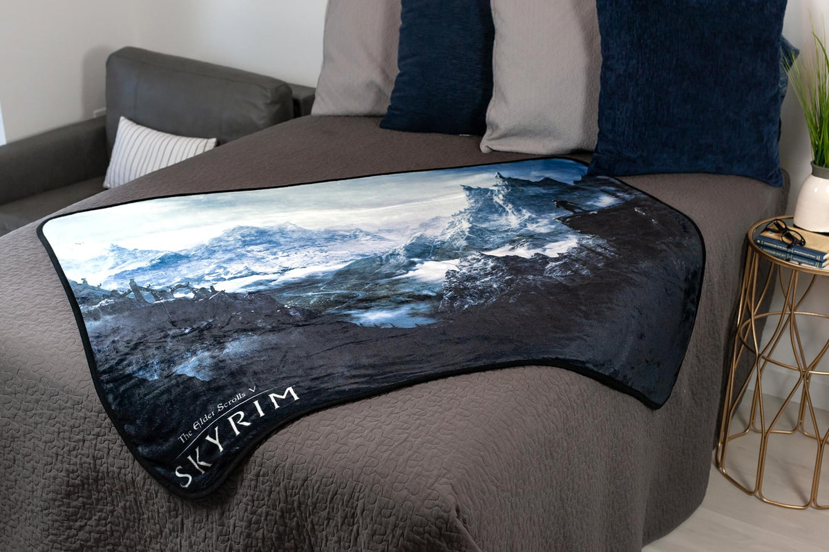 The Elder Scrolls Skyrim Video Game Fleece Throw Blanket | 60 x 45 Inches