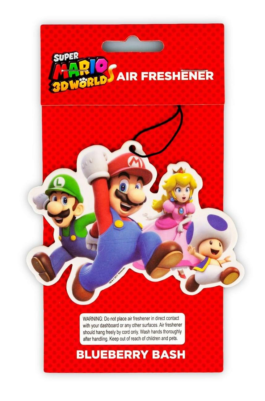 Super Mario Group Air Freshener   Licensed Nintendo  Accessory - Blueberry Scent