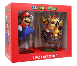 Super Mario Bros. Mario and Bowser 2-Pack Pint Glass