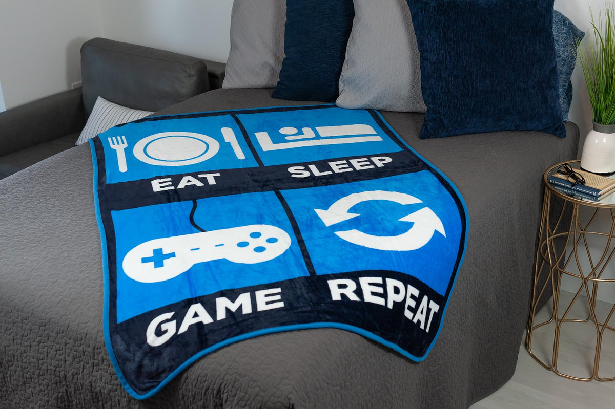 Eat Sleep Game Repeat Large Gamer Fleece Throw Blanket | 60 x 45 Inches