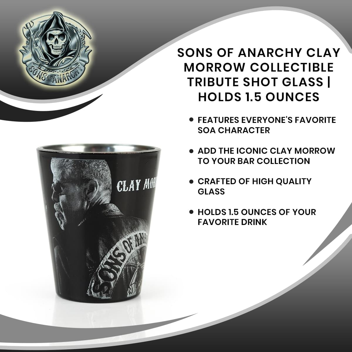 Sons of Anarchy Clay Morrow Collectible Tribute Shot Glass | Holds 1.5 Ounces