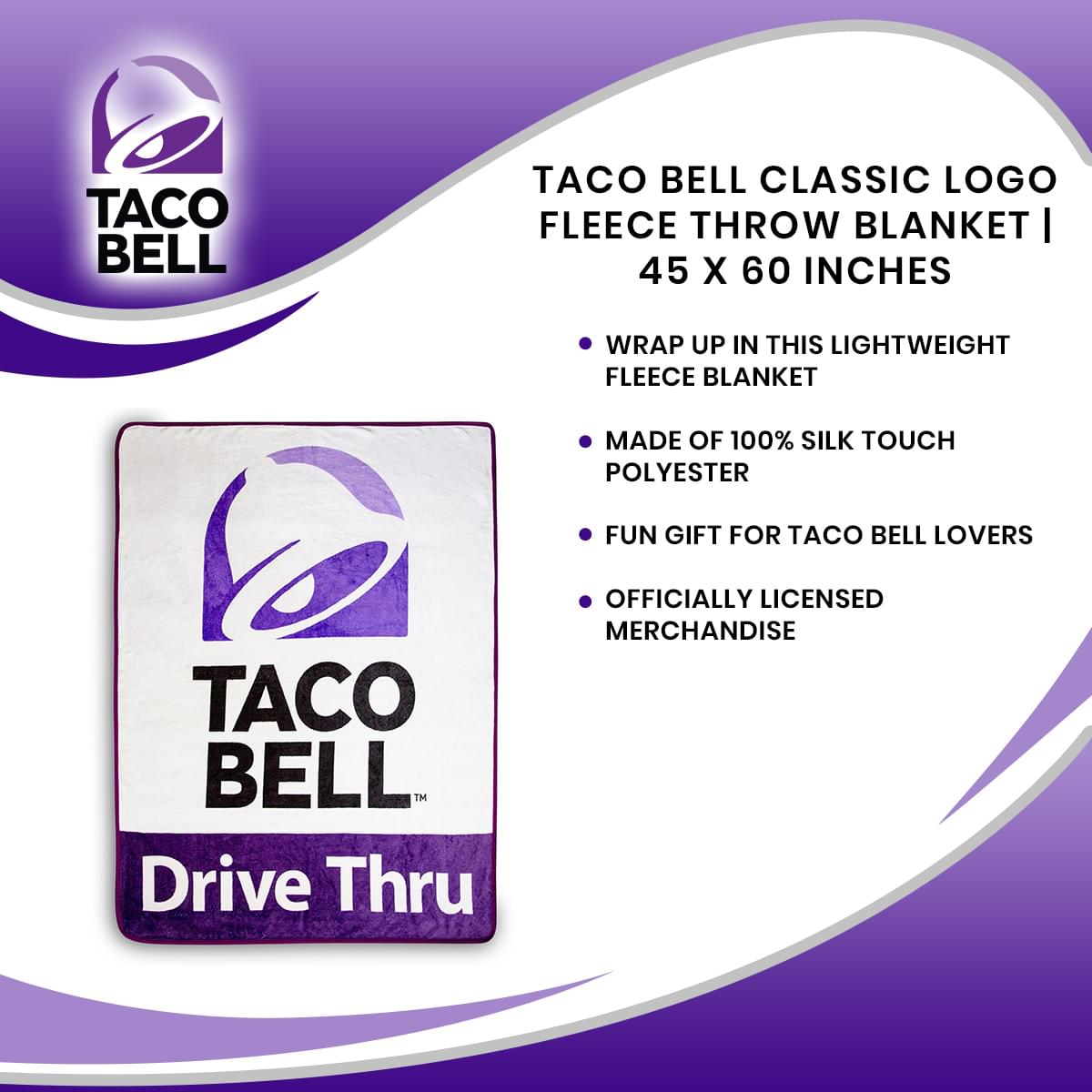 Taco Bell Classic Logo Fleece Throw Blanket | 45 x 60 Inches