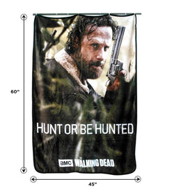 "The Walking Dead Rick Grimes ""Hunt Or Be Hunted"" 45""x60"" Fleece Throw Blanket"