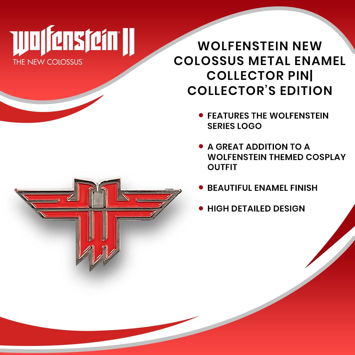Wolfenstein New Colossus Metal Enamel Collector Pin| Collector's Edition