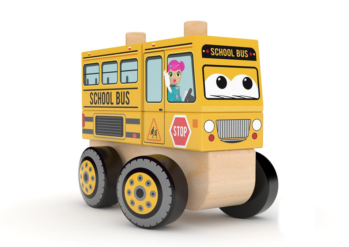 J'adore School Bus Wooden Stacking Toy