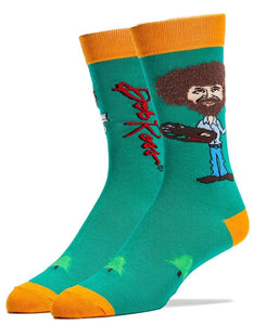 Bob Ross Fuzzy Hair Men's Crew Socks | One Size