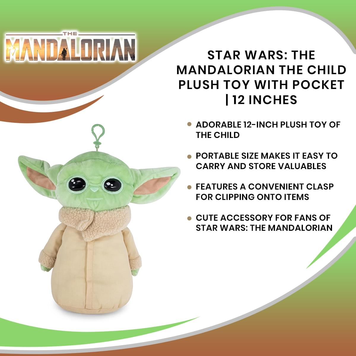Star Wars: The Mandalorian The Child Plush Toy with Pocket | 12 Inches