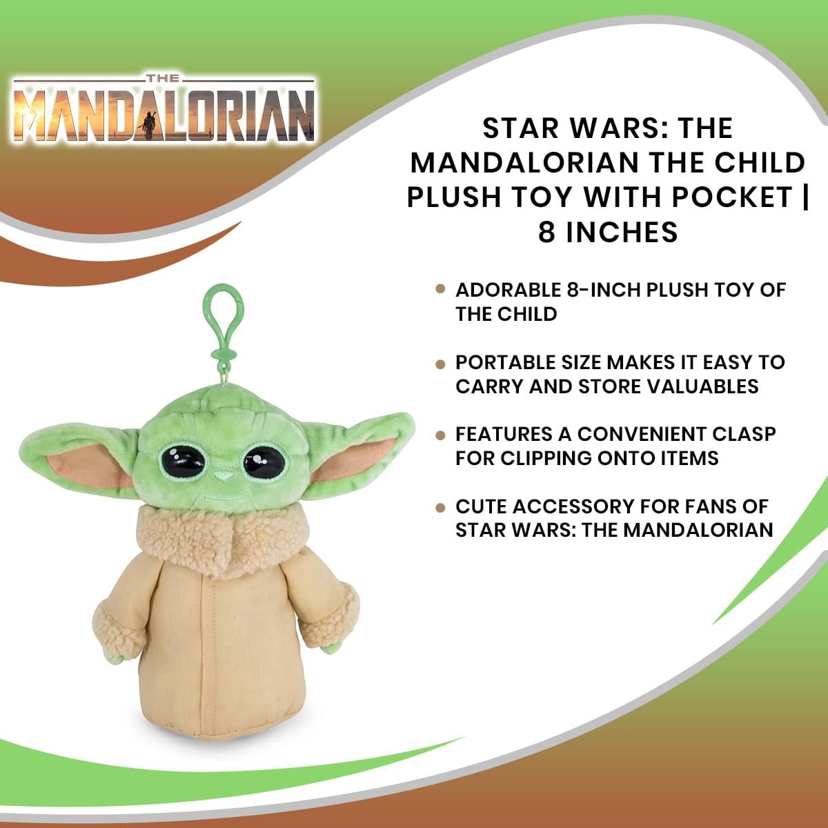 Star Wars: The Mandalorian The Child Plush Toy with Pocket | 8 Inches
