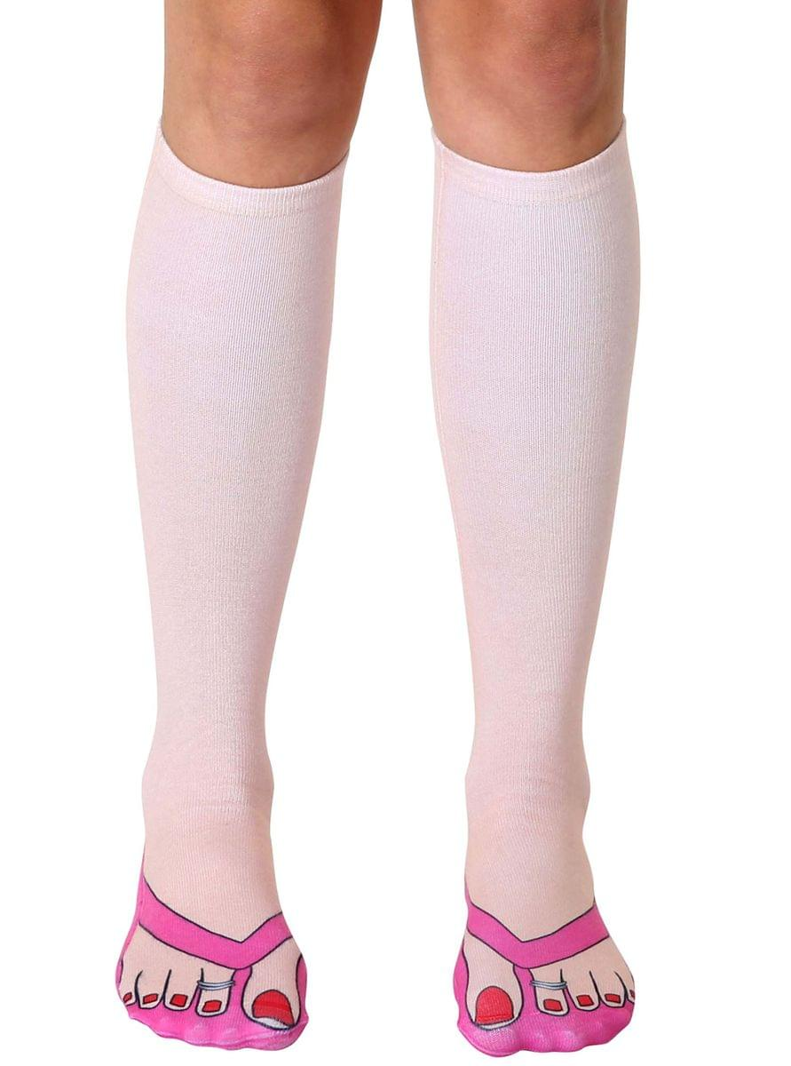Flip Flops (Pale) Photo Print Knee High Socks