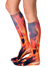 Load image into Gallery viewer, Flame Photo Print Knee High Socks