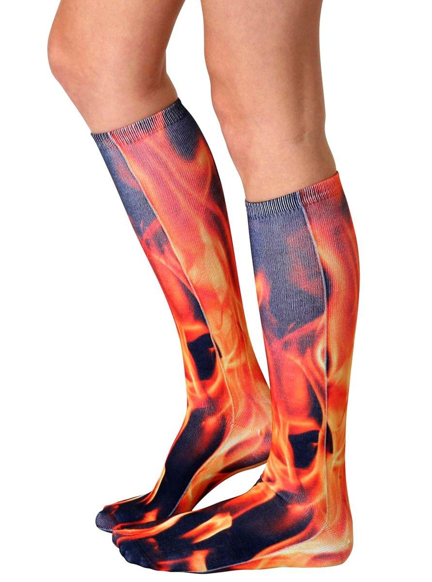 Flame Photo Print Knee High Socks
