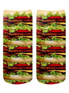 Stacked Hamburgers Photo Print Ankle Socks