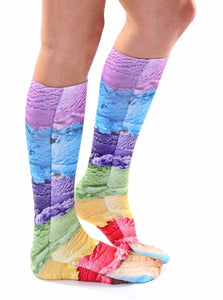 Ice Cream Photo Print Knee High Socks