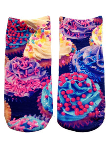 Cupcake Photo Print Ankle Socks