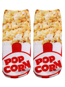 Popcorn Photo Print Ankle Socks