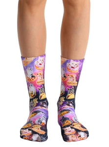 Living Royal Photo Print Crew Socks: Cat Cravings
