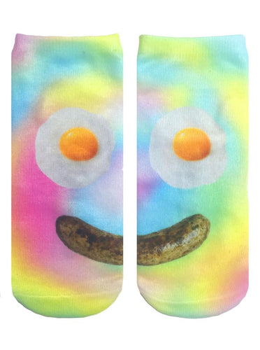 Living Royal Photo Print Ankle Socks: Breakfast Smiley