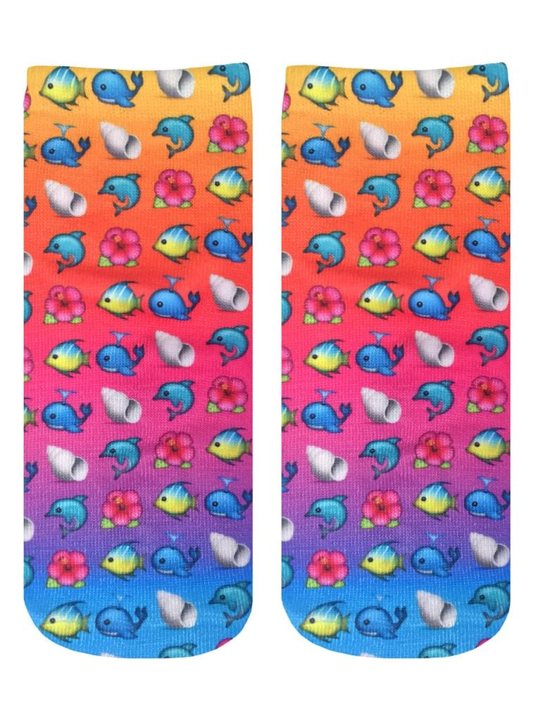 Living Royal Photo Print Ankle Socks: Beach Emoji