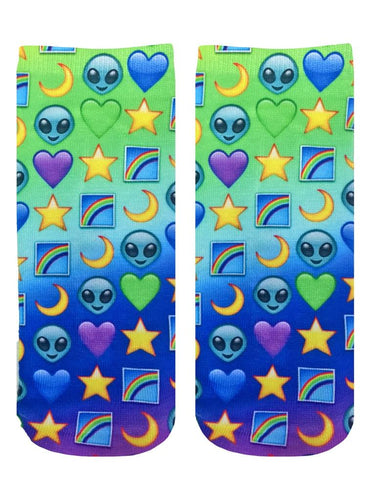 Living Royal Photo Print Ankle Socks: Galaxy Emoji
