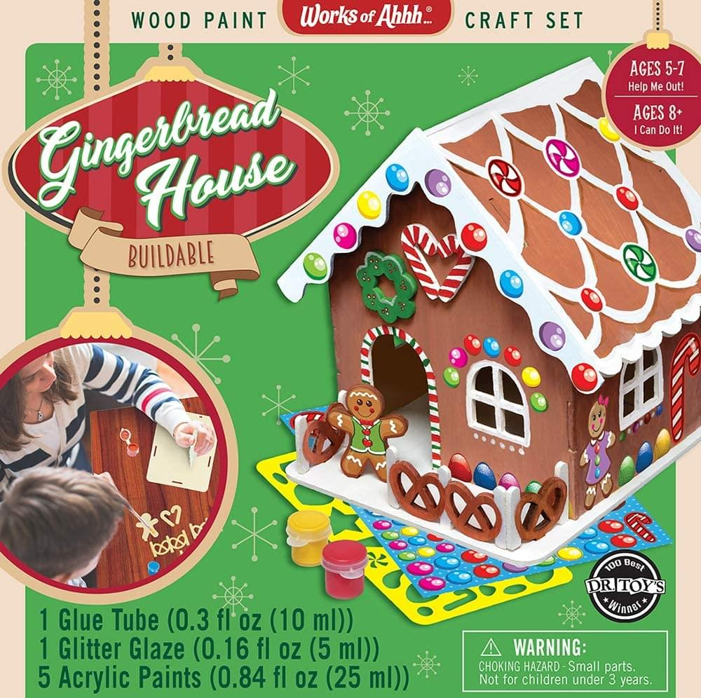 Works of Ahhh Buildable Gingerbread House Wood Painting Kit