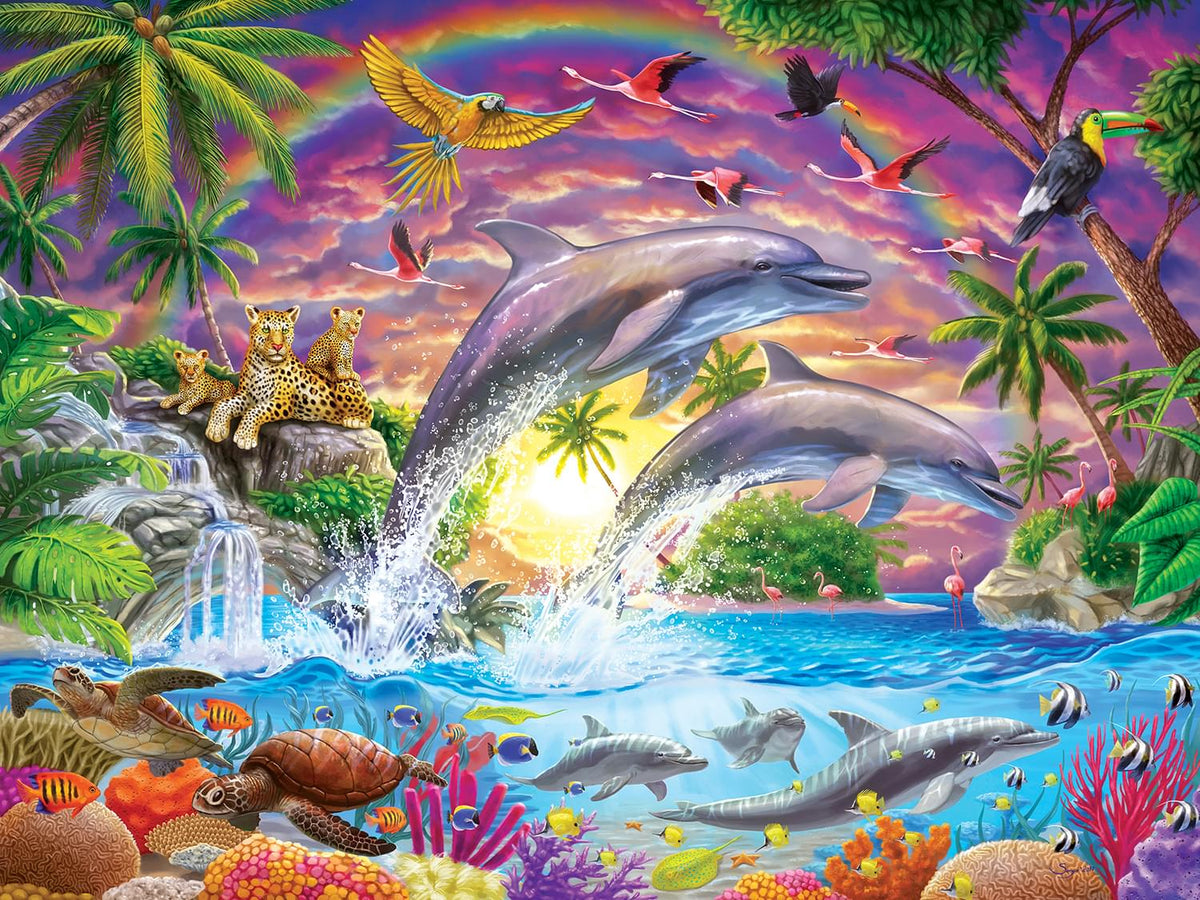 Fantasy Isle Colorful Dolphins 300 Piece Large EZ Grip Jigsaw Puzzle