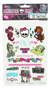 Monster High Temporary Tattoos, Single Sheet 22 Designs