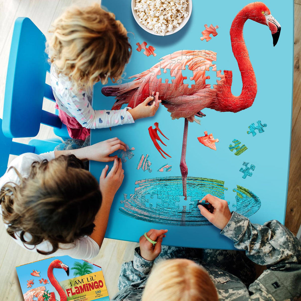 I AM Lil Flamingo 100 Piece Animal-Shaped Jigsaw Puzzle