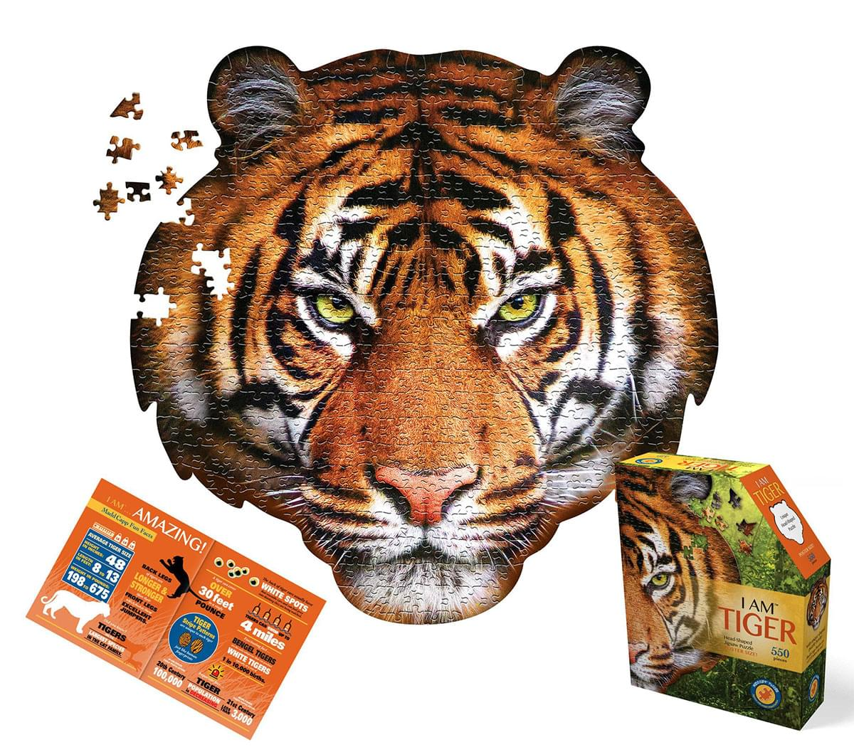 I AM Tiger 300 Piece Animal Head-Shaped Jigsaw Puzzle