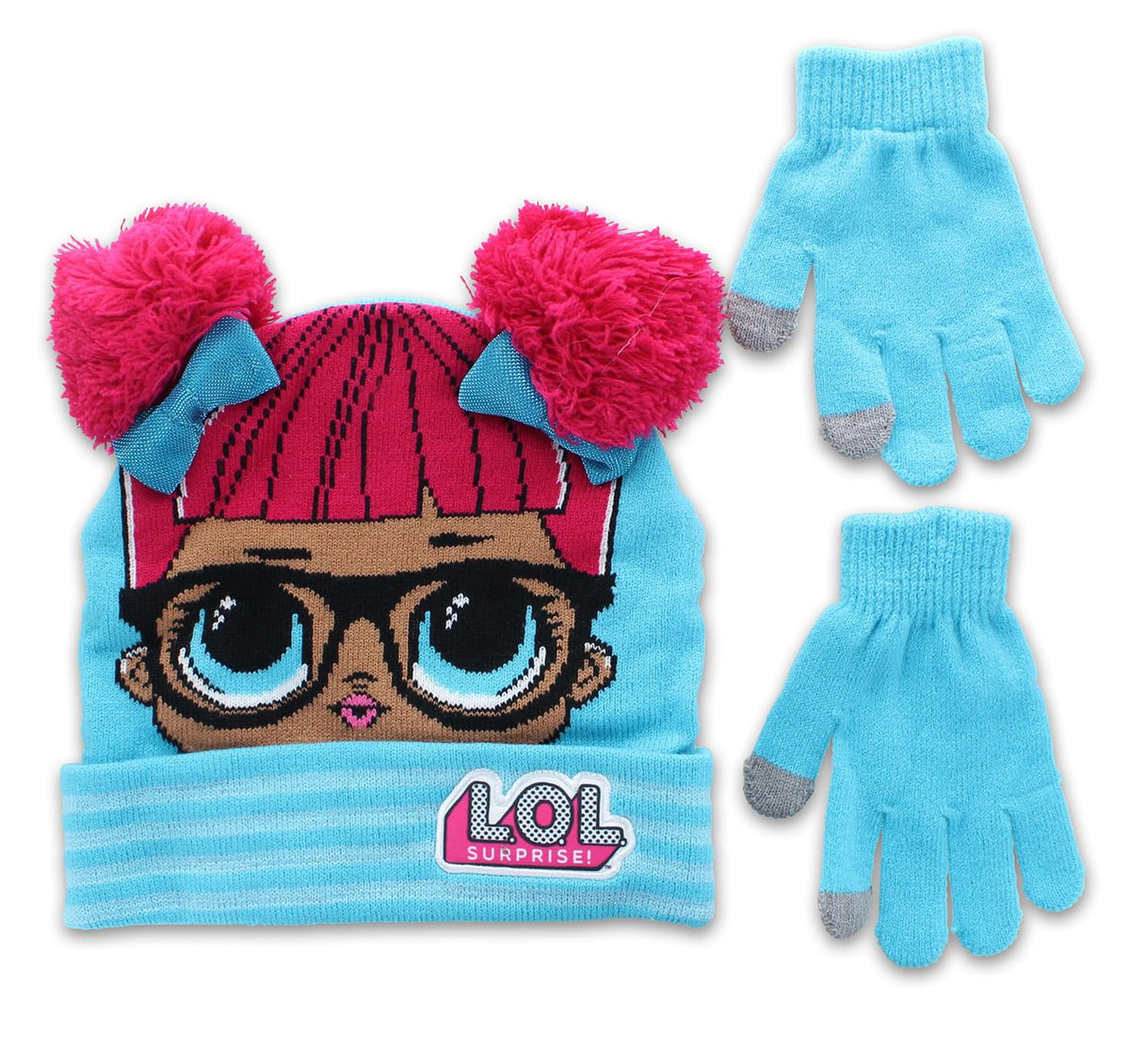 LOL Surprise Dolls Girls Winter Beanie & Glove Set | Blue