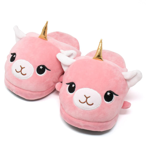 Moosh-Moosh Adult Plush Slipperz - Lucy the Pink Llamacorn