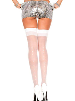 Adult Sheer Thigh Highs w/ Rhinestones, White