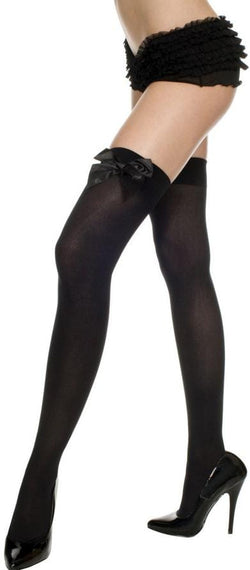Opaque Thigh Hi Nylon With Satin Bow Costume Hosiery