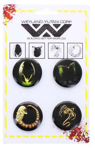 Aliens Buttons Pin Set of 4