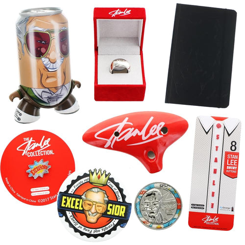 Stan Lee Collector's Bundle with Button Pin, Coin, Replica Ring and More, Set of 8