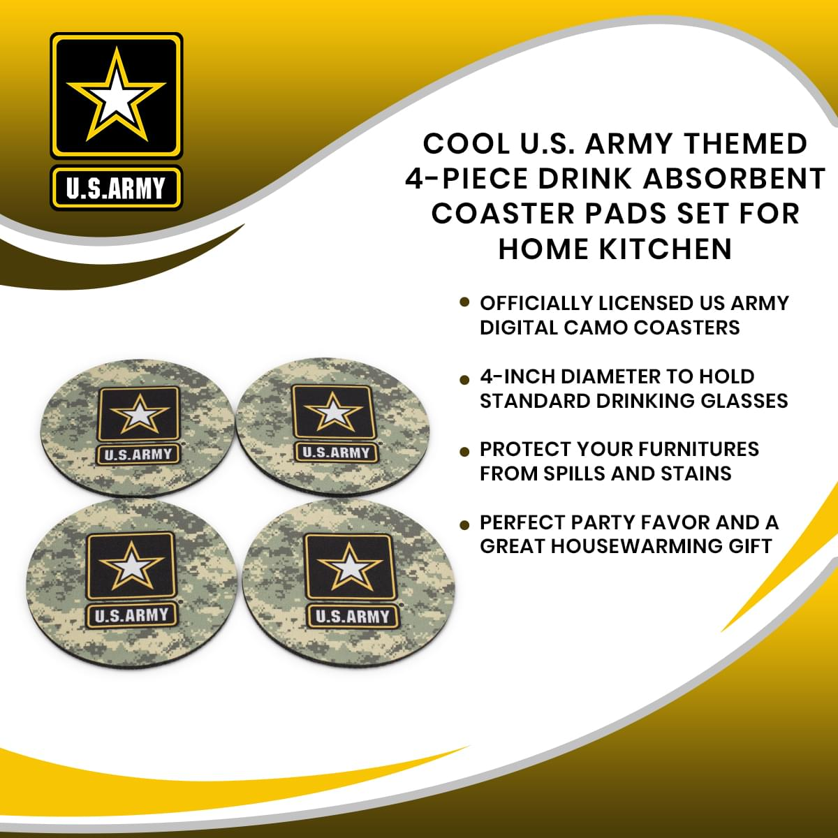 Cool U.S. Army Themed 4-Piece Drink Absorbent Coaster Pads Set for Home Kitchen