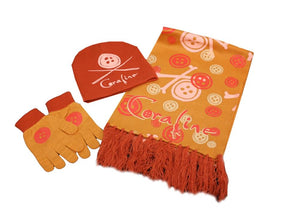 Coraline Hat, Scarf and Gloves Set, Orange Buttons