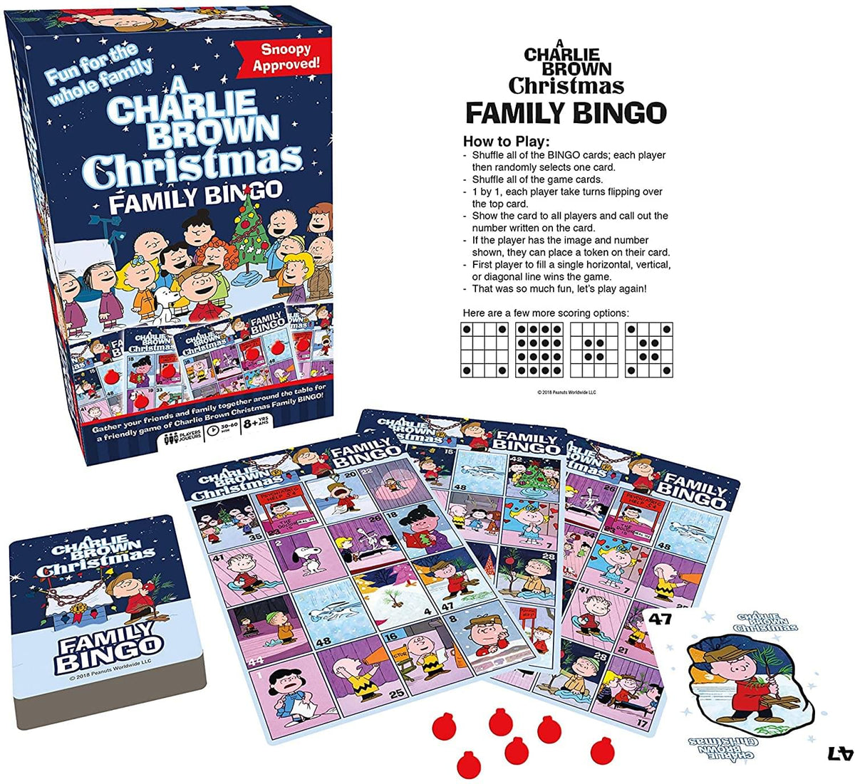 Peanuts A Charlie Brown Christmas Family Bingo Game