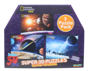 National Geographic- Super 3D Children's 63/100pc Space Puzzle  Set  of 3 12