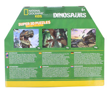 "Load image into Gallery viewer, National Geographic- Super 3D Children's 63/100pc Dinosaur Puzzle Set of 3 12"" x 9"""