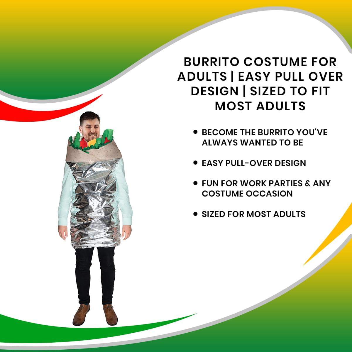 Burrito Costume For Adults | Easy Pull Over Design | Sized To Fit Most Adults