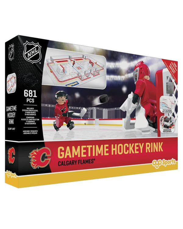 Calgary Flames OYO Sports Mini Figure NHL Full Hockey Rink Set