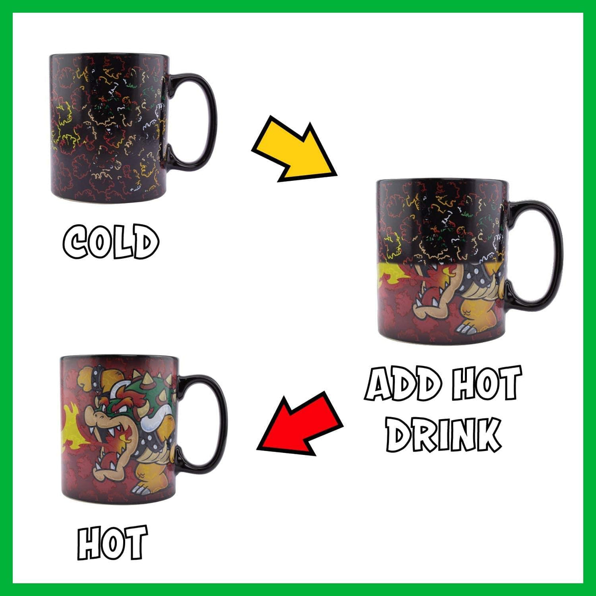 Super Mario Bowser Oversized 18.5oz Heat Change Ceramic Mug