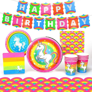 Rainbow Unicorn Birthday Party Supplies Pack | 66 Pieces | Serves 8 Guests