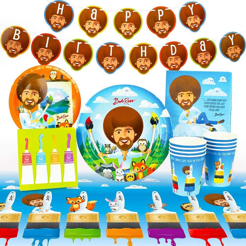 Bob Ross Friends Birthday Party Supplies Pack | 66 Pieces | Serves 8 Guests