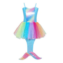 Load image into Gallery viewer, Girl's Costume Rainbow Blue Mermaid Dress: Size 3/4